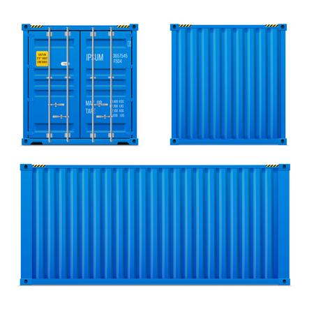 Realistischer hellblauer Frachtcontainersatz. Das Verkehrskonzept. Geschlossener Behälter. Vorne, hinten und seitlich. Realistische Vektoren auf weißem Hintergrund. Vektorgrafik