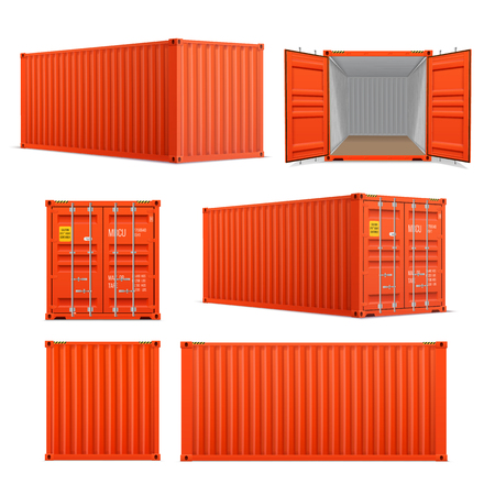 Ensemble réaliste de conteneurs de fret rouge vif. Vue avant, arrière latérale et perspective. Ouvert et fermé. Livraison, transport, transport de fret maritime.