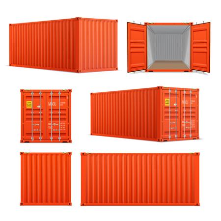 Realistyczny zestaw jasnoczerwonych kontenerów ładunkowych. Widok z przodu, z boku z tyłu i perspektywiczny. Otwarte i zamknięte. Dostawa, transport, wysyłka transport ładunków.