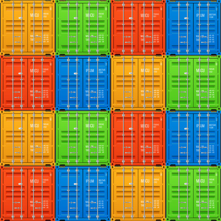 Freight shipping, stacked cargo containers. Ralistic seamless vector