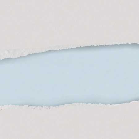 Realistic Torn  blue and white carton border. Ripped paper texture. Frame border background. Scrap paper. Torn edge.