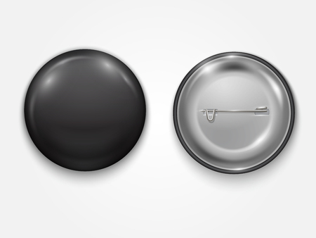 Realistic black Blank badge, vector realistic illustration isolated on white background.