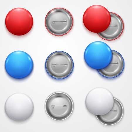 Realistic 3d Empty Color Blank Circle Button Badge Pin Set Front Side Element Presentation and Advertising Retail. Vector illustration of Buttons Badges Pins