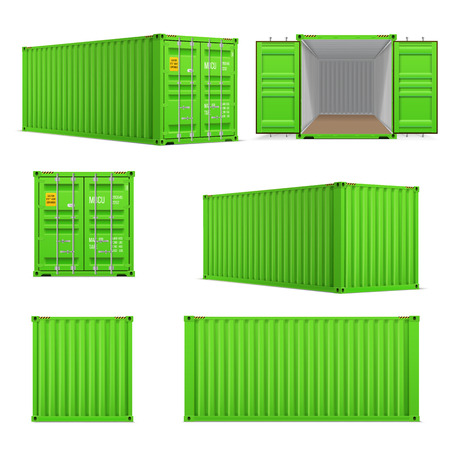 Realistic set of bright green  cargo containers.   Front, side back and perspective view.  Open and closed. Delivery, transportation, shipping freight transportatio Illustration
