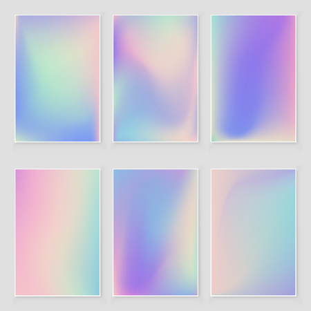Holographic foil  gradient  iridescent  background set Bright trendy minimal hologram backdrop. Empty template for design  cover, book, printing, gift card and fashion