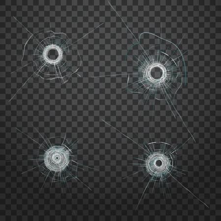Realistic bullet glass hole. Realistic crack texture. Vector fracture. Broken glass. Vector effect.