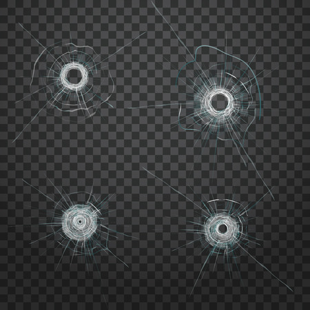Realistisches Kugelglasloch. Realistische Risstextur. Vektorfraktur. Glasscherben. Vektoreffekt.