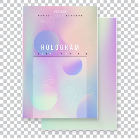 Futuristic modern holographic cover set. 90s, 80s retro style.  Minimalistic hipster design Modern tredy Memphis style Stock Vector - 125998063