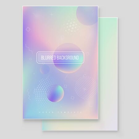 Futuristic modern holographic cover set. 90s, 80s retro style.  Hipster style graphic geometric holographic elements. Iridescent graphic mockup for brochure, banner, wallpaper, mobile screen.