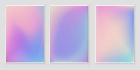 Holographic foil  gradient  iridescent  background set Bright trendy minimal hologram backdrop. Iridescent   backdrop for creative project
