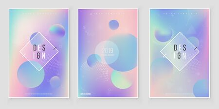 Futuristic modern holographic cover set. 90s, 80s retro style.  Minimalistic hipster design Modern tredy Memphis style Illustration