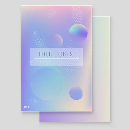 Futuristic modern holographic cover set. 90s, 80s retro style.  Hipster style graphic geometric holographic elements. Digital Cover Design for your Business with Abstract Lines and Holography Background Illustration