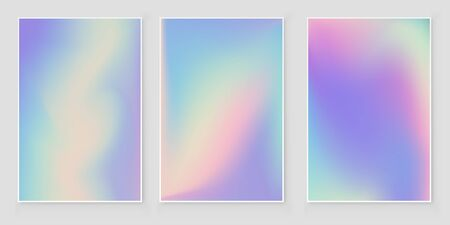 Abstract blurred Holographic gradient  background set Modern minimal design. Holographic foil vector Stock Vector - 125998077