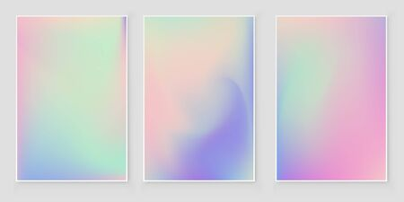 Abstract blurred Holographic gradient  background set Modern minimal design. Empty template for design  cover, book, printing, gift card and fashion
