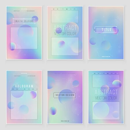 Futuristic modern holographic cover set. 90s, 80s retro style.  Minimalistic hipster design Iridescent graphic mockup for brochure, banner, wallpaper, mobile screen.