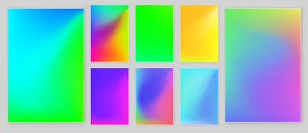 Bright  gradient background set for mobile applications. Soft color background design Colorful rainbow gradient