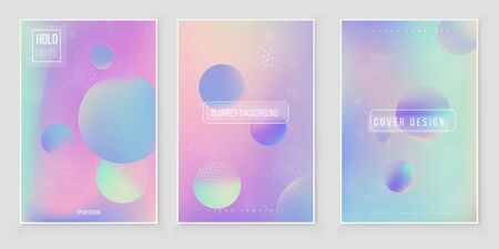 Futuristic modern holographic cover set. 90s, 80s retro style.  Minimalistic hipster design Digital Cover Design for your Business with Abstract Lines and Holography Background