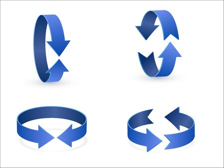 3D rotation sign blue icon 360 rotation arrows Illustration