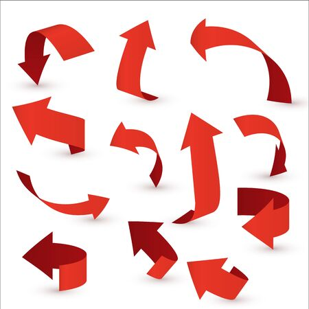 Red ribbon arrow set. Arrow stickerst various angles and directions. Stock Vector - 131184420