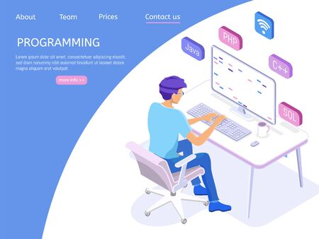Programmer isometric character. Programming concept, web engineer at work.