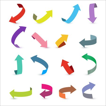 Colorful ribbon arrow set. Arrow stickerst various angles and directions. 3d vector icon set. Stock Vector - 131184432