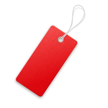 Red realistic textured sell tag with rope. Stock Vector - 131184439