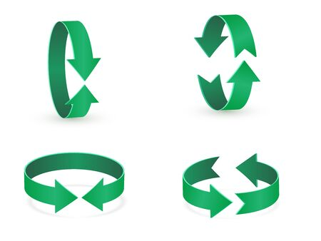3D rotation sign green icon. 360 rotation arrows Sign. Illustration