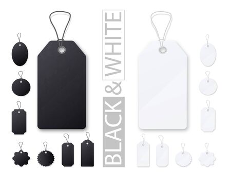 Black and white price tags. Realistic empty template set.