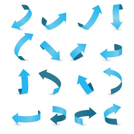 Blue ribbon arrow set. Arrow stickerst various angles and directions. Stock Vector - 131184445