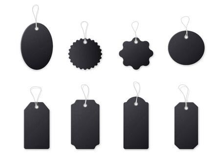 Black price tag realistic empty template set.