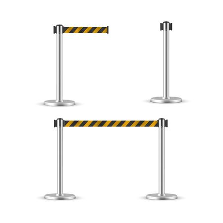 Retractable belt stanchion set, portable ribbon barrier. Illustration