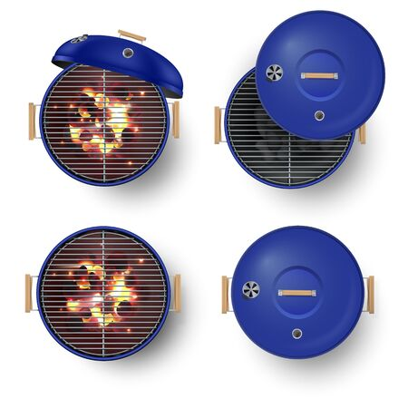 Round blue barbecue grill top view realistic vector illustration set. Burning coals.