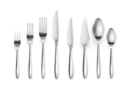 Realistiny set of silver cutlery.Top view. Metal knives, forks spoons