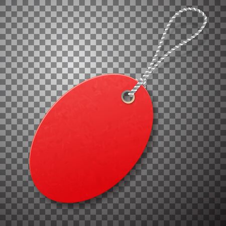 Red realistic textured sell tag with rope. Ilustração