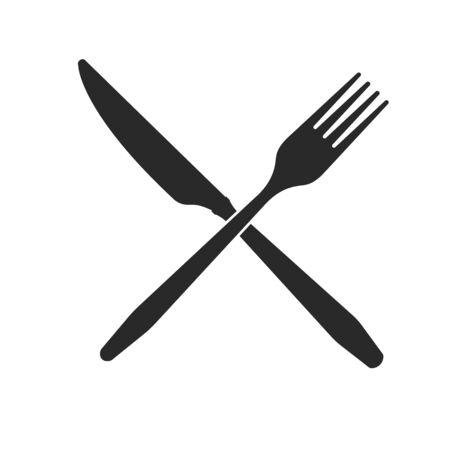 Coutellerie. Icônes croisées de couteau et de fourchette sur un fond blanc.