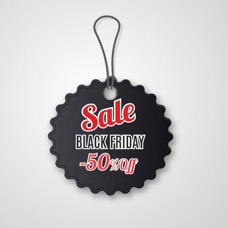 Black friday realistic textured, sale tag on a rope. Stockfoto - 133414654