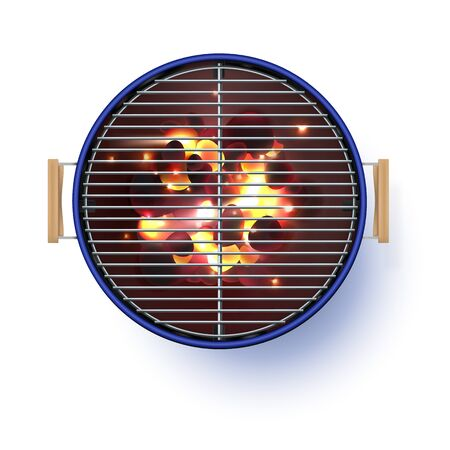 Round blue open barbecue grill. Top view. Realistic vector illustration. Burning coals. Realistic bbq vector illustration isolated on white background.