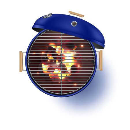 Round blue open barbecue grill top view realistic vector illustration.