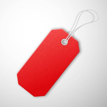 Red realistic textured sell tag with rope.  イラスト・ベクター素材