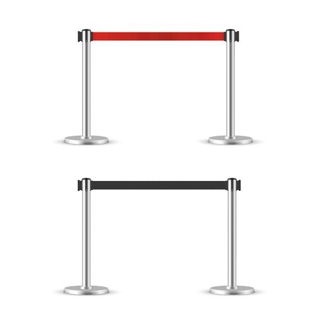 Retractable belt stanchion set. Portable ribbon barrier. black and red fencing tape. Chrome stanchion Vectores