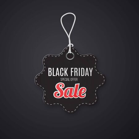 Black friday realistic textured, sale tag on a rope. Illustration