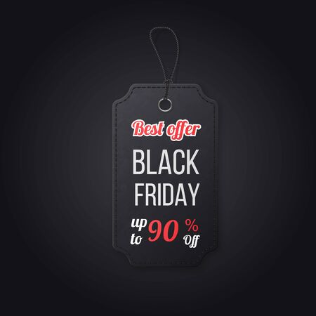 Black friday realistic textured, sale tag on a rope. Symbol of Christmas holiday sale. Isolated on black background
