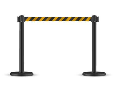 Retractable belt stanchion. Portable ribbon barrier. Striped black-yellow fencing tape. Illustration