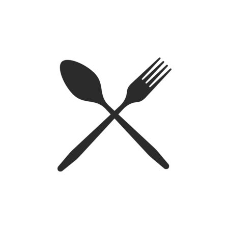 Cutlery. Crossed spoon and fork black icons on a white background.