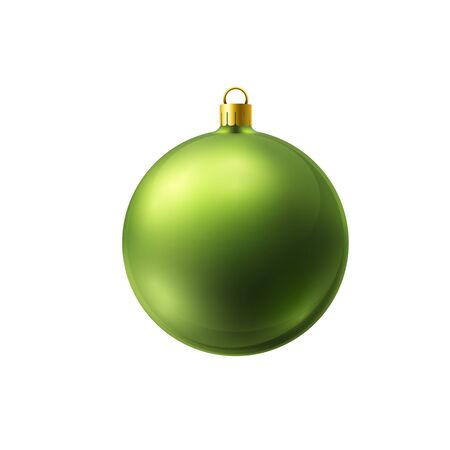 Green christmas ball made of frosted glass isolated on white background. Çizim