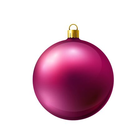Crimson christmas ball made of frosted glass isolated on white background. Realistic vector.