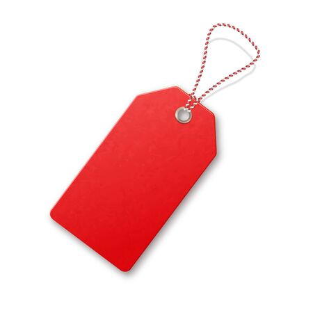 Red realistic textured sell tag with rope. Иллюстрация