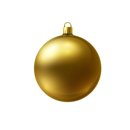 Gold christmas ball made of frosted glass isolated on white background. Realistic illustration on white background