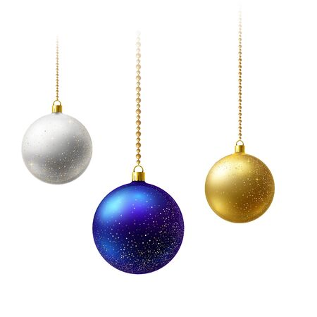 Realistic Multi-colored matte Christmas balls hanging on gold beads chains. New Year card
