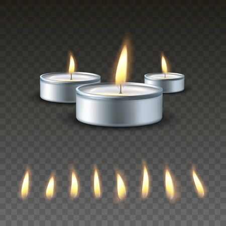 Realistic vector 3d burning tea candle on a dark background. Set of different types of flame. Иллюстрация